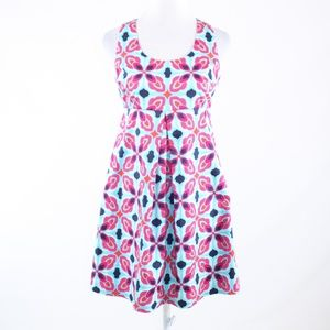 Ellen & Ollie blue pink floral print sun dress 6